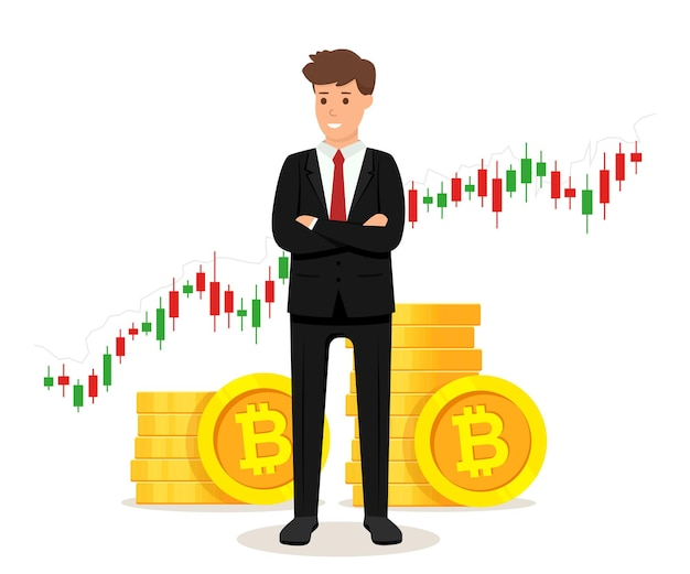 Geschäftsmann stehend mit goldenen bitcoin-münzen und handelsgraphdiagrammkonzept