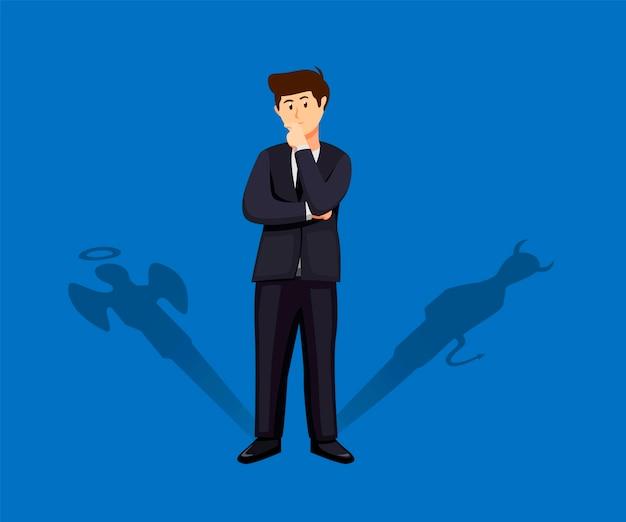 Geschäftsmann stehend mit seinem teufel und engelsschatten. entscheidungskonzept in der karikaturillustration