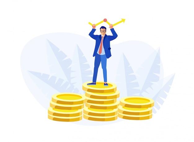 Geschäftsmann steht auf dem münzen-stapel, der pfeil hält