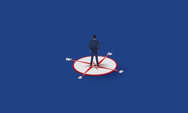 Geschäftsmann steht auf kompass und schaut in richtung konzeptinspirationsgeschäft