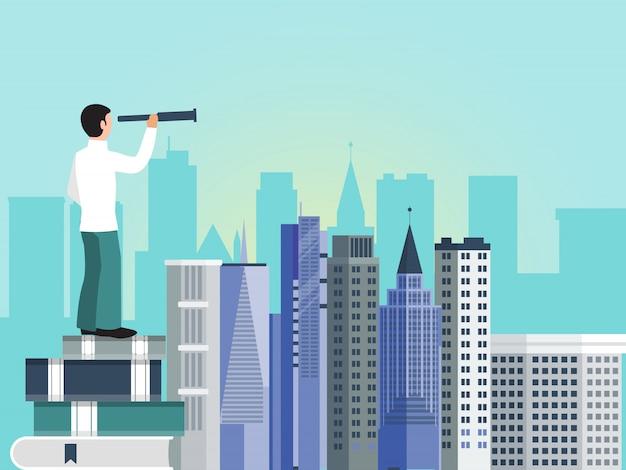 Geschäftsmann sucht neue geschäftsmöglichkeiten der wolkenkratzerstadt. der mensch steht auf einem stapel bücher und benutzt ein fernglas, um nach neuen horizonten zu suchen.