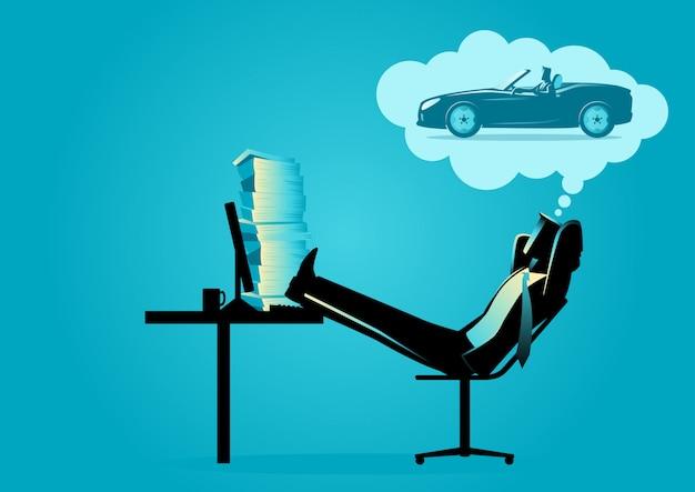 Geschäftsmann tagträumen über das fahren eines sportwagens