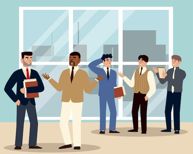 Geschäftsmann-team, das gruppenmänner in der büroillustration trifft