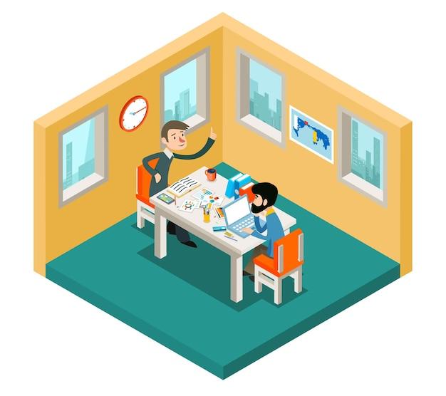 Geschäftsmann-team, das im büro isometrisches 3d-konzept arbeitet.