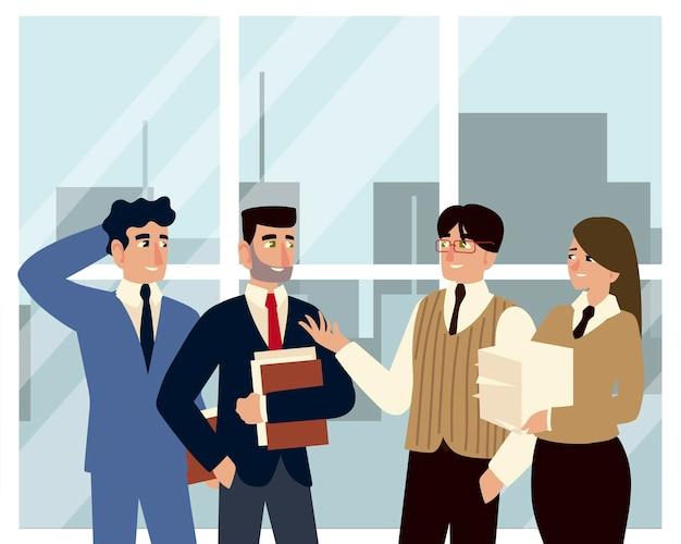 Geschäftsmann teamwork cartoon charakter büro illustration
