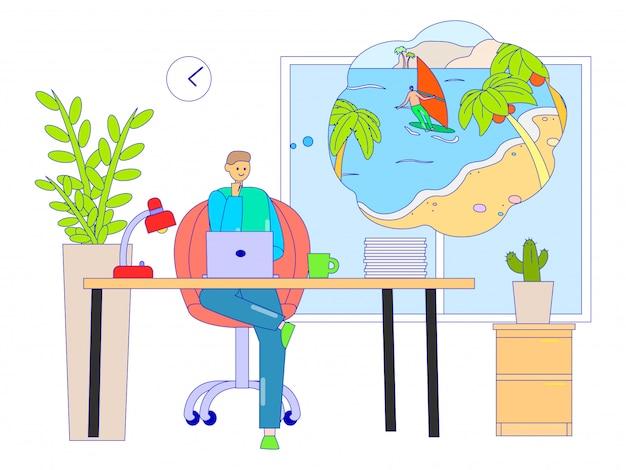 Geschäftsmann träumt vom urlaub am arbeitsplatz, illustration. arbeitercharakter sitzt am schreibtisch und denkt an entspannung