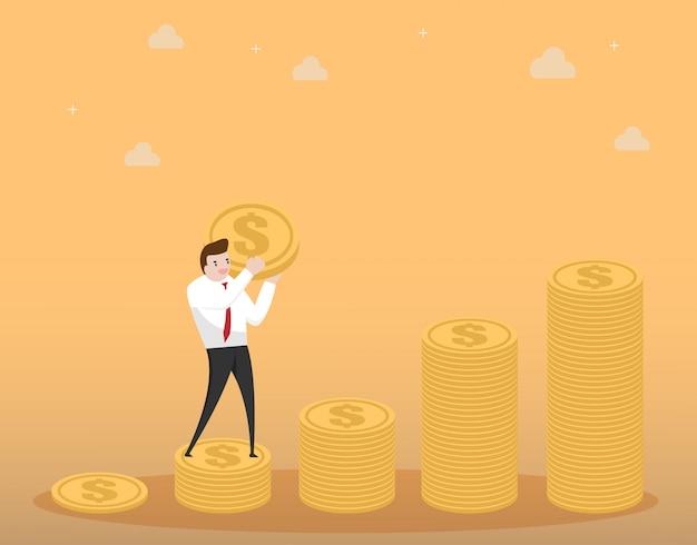 Geschäftsmann tragen geld steigern auf münzenstapel
