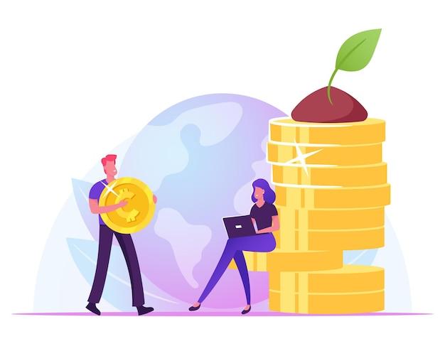 Geschäftsmann tragen riesige goldene münze, geschäftsfrau, die an laptop arbeitet, der am geldstapel mit grüner pflanze sitzt, die an der spitze wächst. karikatur flache illustration