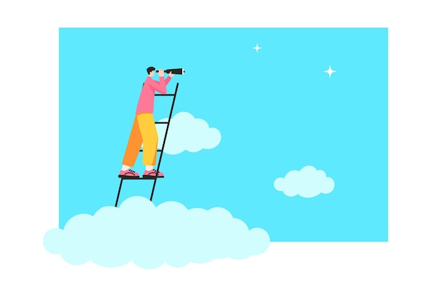 Geschäftsmann über den wolken auf der treppe und schaut durch ein teleskop. konzept der ideensuche. neue möglichkeiten, karriereleiter, erfolg, beförderung. vektor-illustration