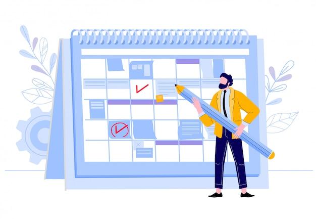 Geschäftsmann überprüfen kalender. mann mit bleistiftplanungsarbeitsereignissen am planer, geschäftsarbeitertagesplan und ereignisorganisationskalenderillustration. business organizer, planung des workflows