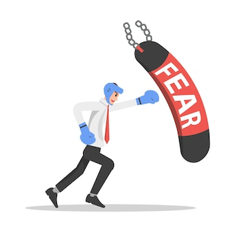 Geschäftsmann übt, angst zu überwinden