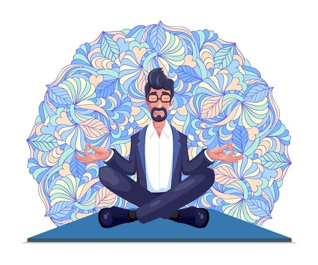 Geschäftsmann übt yoga