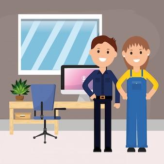 Geschäftsmann und arbeitnehmerin schreibtisch computer stuhl topfpflanze illustration