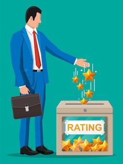 Geschäftsmann und bewertungsfeld. bewertungen fünf sterne. testimonials, bewertung, feedback, umfrage, qualität und überprüfung. vektorillustration im flachen stil