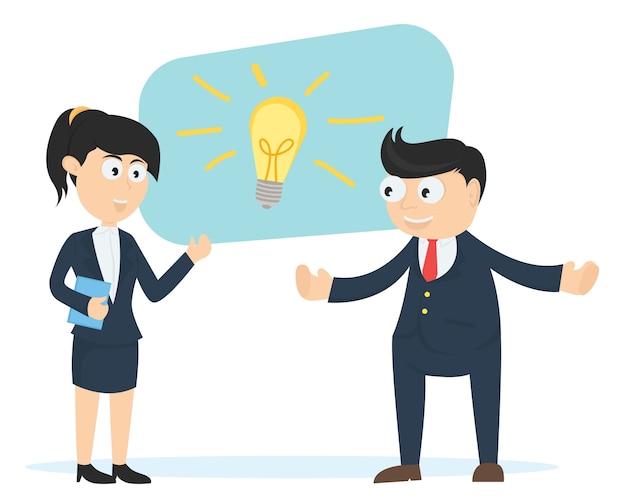 Geschäftsmann und business-frau denken zusammen cartoon-vektor