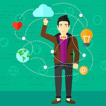 Geschäftsmann und cloud computing.