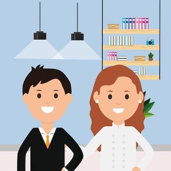 Geschäftsmann und doktor frau zimmer arbeiten bücherregal lampen illustration
