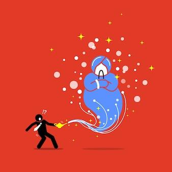 Geschäftsmann und ein geist in einer lampe. die grafikillustration zeigt das konzept von wunsch, gewährung, belohnung, hoffnung und glück.