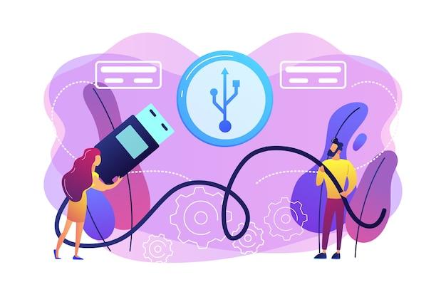 Geschäftsmann und frau, die port wählen, um kabel und usb-symbol einzufügen. usb-verbindung, usb-port-standard, digitales datenkommunikationskonzept. helle lebendige violette isolierte illustration