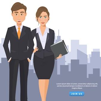 Geschäftsmann und frau, sich flyer anzumelden