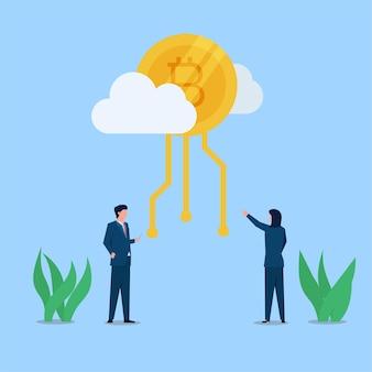 Geschäftsmann und -frau starren auf kryptomünze auf der wolkenmetapher der kryptowährung an.