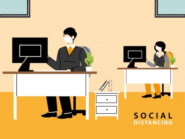 Geschäftsmann und frau tragen gesichtsmasken und halten abstand im büro