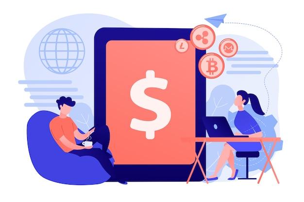 Geschäftsmann und frau überweisen geld mit geräten. illustration des konzepts der digitalen währung, des kryptowährungsmarkts, des e-geld-transfers und des digitalen geldumsatzkonzepts