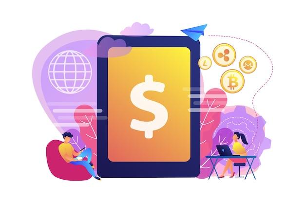 Geschäftsmann und frau überweisen geld mit geräten. konzept für digitale währung, kryptowährung, e-geldtransfer und digitales geldumschlag.