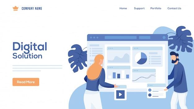 Geschäftsmann und -frau unterhalten die website für die zielseite von digital solution.