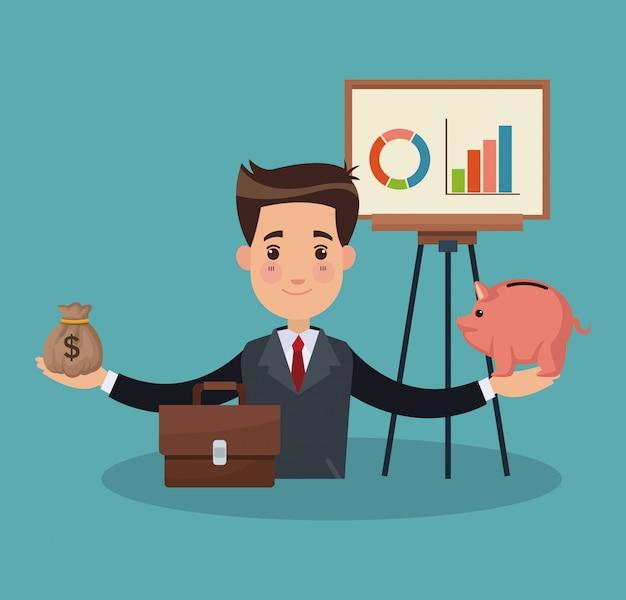 Geschäftsmann und geld cartoons