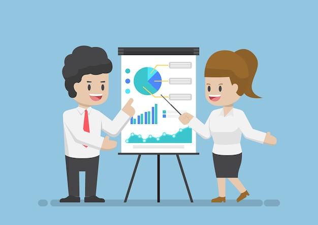 Geschäftsmann und geschäftsfrau analysieren von geschäftsgraphen zusammen, analysieren von geschäftsdaten und teamwork-konzept