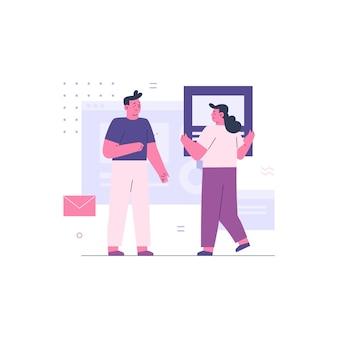 Geschäftsmann und geschäftsfrau arbeiten als team zusammen