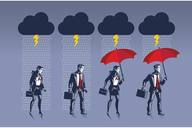 Geschäftsmann und geschäftsfrau bereiten sich vor, indem sie einen regenschirm tragen, um sich vor regen zu schützen