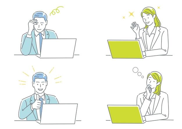 Geschäftsmann und geschäftsfrau, die an ihren laptops arbeiten und verschiedene emotionen ausdrücken
