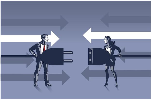 Geschäftsmann und geschäftsfrau, die elektrische stecker halten, die versuchen, verbindungs-illustrations-konzept herzustellen
