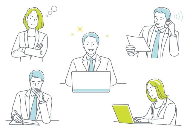 Geschäftsmann und geschäftsfrau, die in ihrem büro arbeiten und verschiedene emotionen ausdrücken