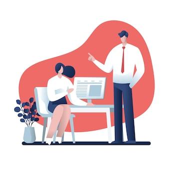 Geschäftsmann und geschäftsfrau, die über arbeit im büro, charakterdesign, online-geschäft sprechen