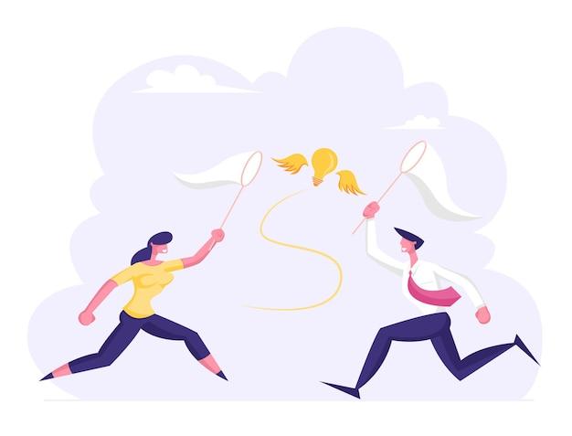 Geschäftsmann und geschäftsfrau jagen fliegende glühbirne, die versucht, sie zu fangen