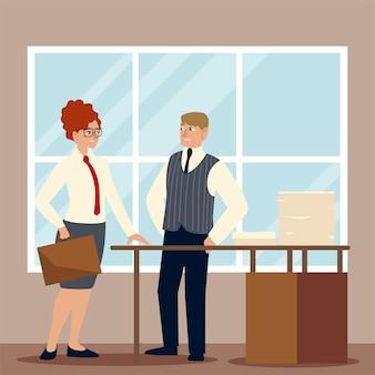Geschäftsmann und geschäftsfrau mit aktentaschenpapieren in der box auf schreibtischarbeitsillustration