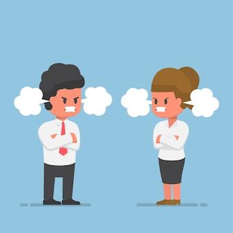Geschäftsmann und geschäftsfrau mit rotem gesicht der wut, wütendes emotionales konzept