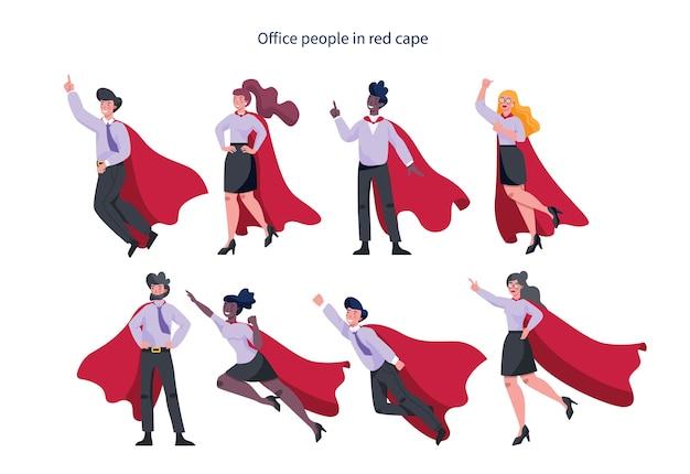 Geschäftsmann und geschäftsfrau mit rotem superheldenumhang. mann und frau mit kraft und motivation in unterschiedlichen posen. idee der führung.