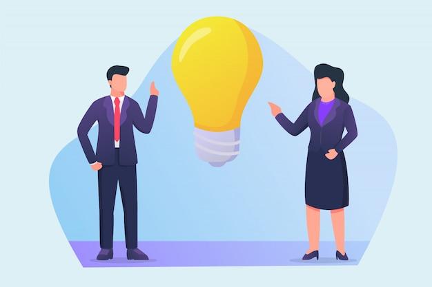 Geschäftsmann und geschäftsfrau sprechen über neues ideenkonzept mit großen glühbirnenikonen