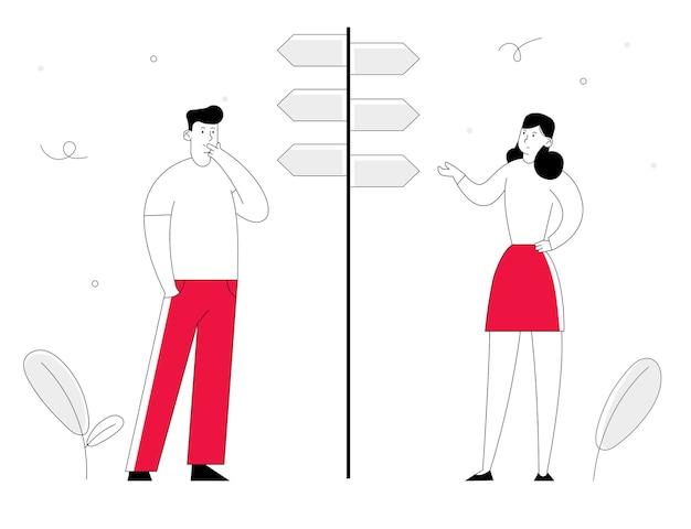 Geschäftsmann und geschäftsfrau stehen auf kreuzungsgabelzeiger und entscheiden, welchen weg sie wählen.