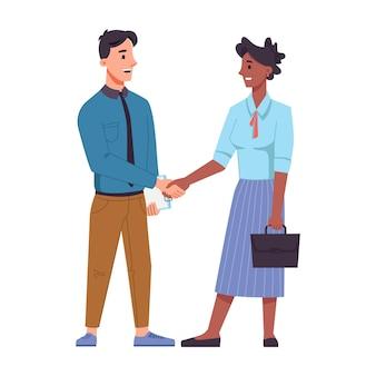 Geschäftsmann und geschäftsfrau verschiedener rassen schütteln hände lokalisierten flachen karikaturmenschenvektor-handschlag