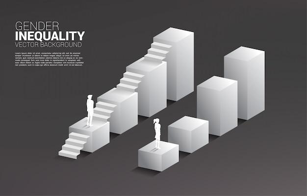 Geschäftsmann und geschäftsfrau ziehen auf wachsendem diagramm und dem einzigen mann mit der treppe um.