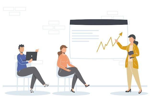 Geschäftsmann und geschäftsfrauen mit laptop und infografik im büro