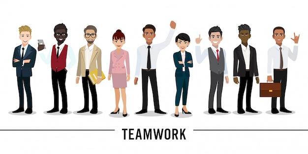 Geschäftsmann- und geschäftsfrauzeichentrickfilm-figur teamwork