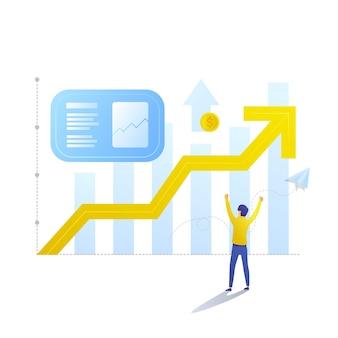 Geschäftsmann und grafik steigender und steigender gewinne