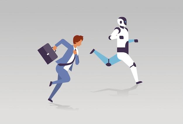 Geschäftsmann und roboter, die technologiewettbewerb der künstlichen intelligenz laufen lassen