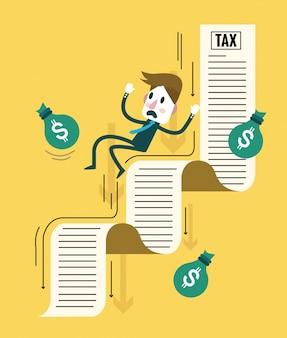 Geschäftsmann und sein geld, die unten auf steuerdokument fließen. steuerschuldenbelastung. flache designelemente. vektor-illustration